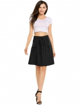 Noir Women High Waist Front Lace-up Mini jupe A-ligne Slim Casual Décor de poche