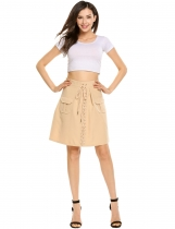Beige Casual High Waist Front Lace-up Mini A-line Skirt Slim with Pocket