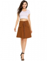Brown Casual High Waist Front Lace-up Mini A-line Skirt Slim with Pocket