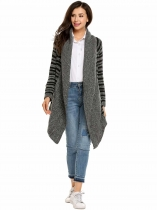 Black Long Sleeve Breathable Open Front Striped Knitted Cardigans