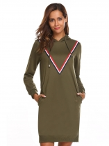 Verde do exército Mulheres Casual Cordão com bordado com capuz Hem and Cuffs Loose Pocket Hoodie Dress