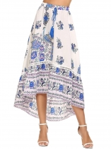 Printed Elastic High Waist Tassel Drawstring Skirt