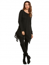 Black Long Sleeve Lace Trim Irregular Pullover Cable Knit Sweater