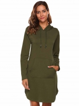 Army green Split Hem Solid Hoodie Dress with Kangaroo Pocket