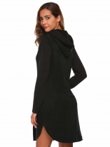 Femmes à manches longues ronde Split Hem Solid Casual Hoodie Dress with Kangaroo Pocket