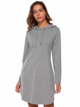Grey Split Hem Solid Hoodie Dress with Kangaroo Pocket