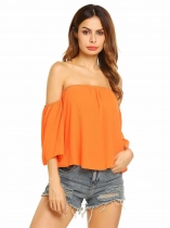 Orange Aus der Schulter 3/4 Ärmel Solid Casual Top