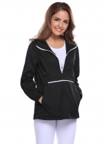 Black Drawstring Hooded Long Sleeve Elastic Cuffs Windproof Jacket