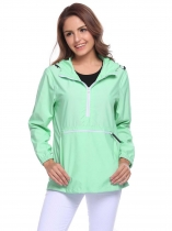 Green Drawstring Hooded Long Sleeve Elastic Cuffs Windproof Jacket