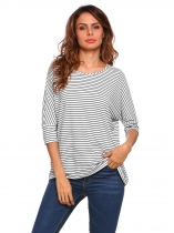 White Black Stripe Batwing Sleeve Striped Loose Tops