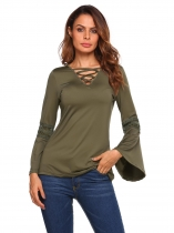 Army green Flare Sleeve V-neck Lace Patchwork Loose Tops
