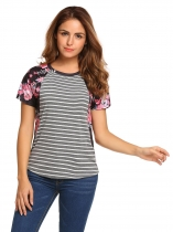 Gray Raglan Short Sleeve Floral Striped Loose Leisure Tops