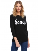 Noir Mode Femmes O-Neck 3/4 Sleeve Solid Letter Print Back Hole T-Shirt