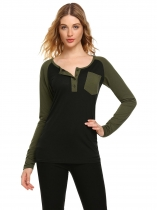 Army green Contrast Color O-Neck Long Sleeve Patchwork Pocket Tops