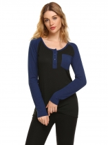 Blue Contrast Color O-Neck Long Sleeve Patchwork Pocket Tops
