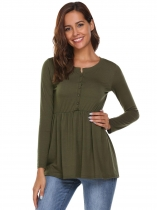 Army green O-Neck Long Sleeve Solid Buttoned Ruffle Hem Tops