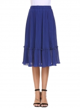 Navy blue Bleu marine Femmes Casual Elastic Haute taille A-Line Pleated Solid Crimp Sexy Skirt