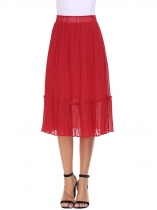 Wine red Elastic High Waist Pleated Solid Crimp Skirt