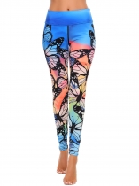Femmes Casual Elastic Waist Stitching Print Sports Yoga Pants