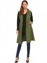 Verde do exército Gire para baixo colar de manga comprida Solid Long Trench Coat