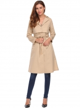Khaki Turn Down Collar Long Sleeve Solid Long Trench Coat
