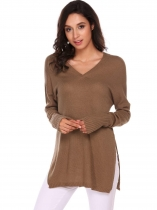Dark brown Long Sleeve V Neck Solid Split Loose Kint Pullover Sweaters