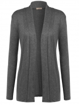Dark gray Long Sleeve Solid Open Front Cardigan