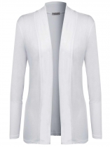 White Long Sleeve Solid Open Front Cardigan