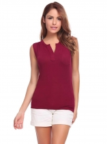 Wine red Women Casual V-Neck Sleeveless Solid Pocket Pullover Loose Sexy Tops