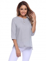 Gray O-Neck 3/4 Sleeve Button Asymmetrical Hem Loose Blouse Tops
