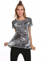 Black Tree Print O-Neck Short Sleeve Spring Summer T-shirt