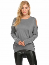 Gray Women Casual O-Neck Long Sleeve Cold the Shoulder Asymmetrical Hem Sexy Blouse T-shirt