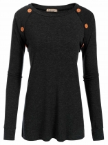 Black Women Casual O-Neck Long Sleeve Elbow Patch Patchwork Button Sexy Blouse Casual Tops