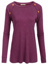 Wine red Women Casual O-Neck Long Sleeve Elbow Patch Patchwork Button Sexy Blouse Casual Tops