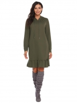 Army green Hooded Drawstring Long Sleeve Pocket Ruffle Hoodie Dress
