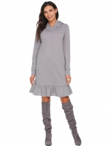 Gray Hooded Drawstring Long Sleeve Pocket Ruffle Hoodie Dress