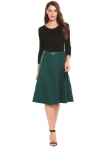 Dark green High Waist Solid A-Line Skirts with Belt