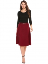 Wine red High Waist Solid A-Line Skirts with Belt