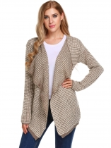 Khaki Mulheres Casual manga comprida Asymmetrical Dot Draped Open Front Cardigan Sweater