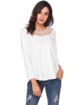 White Long Sleeve Lace Patchwork Casual blouse