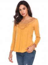 Yellow Long Sleeve Lace Patchwork Casual blouse