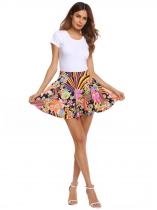 Yellow Women Bohemia Style Print Mini Pleated Skirt Elastic Waist Casual Club