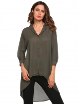 Army green Solid Dip Hem Stand Neck 3/4 Sleeve Buttoned Chiffon Shirt