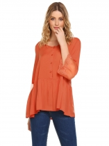 Orange EASTHER Women Fashion Solid Flare 3/4 Sleeve Lace-trimmed Button T-Shirt