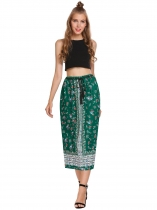 Green Elastic Waist Floral Print Pleated Belted Skirts
