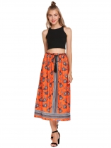 Orange Elastic Waist Floral Print Pleated Belted Skirts