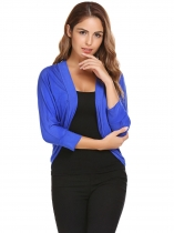 Royal Blue 3/4 Sleeve Solid Knit Open Front Cardigan