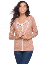 Nude pink Drawstring Long Sleeve Dot Pocket Zipper Hoodie