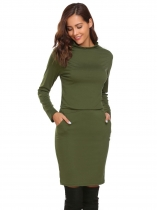 Army green Turtleneck Bodycon Dress with Pocket