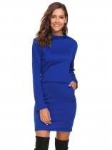 Blue Turtleneck Bodycon Dress with Pocket